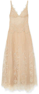 I.D. Sarrieri Mystère De Minuit Metallic Embroidered Tulle Nightdress - Gold