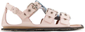 Miu Miu Pink Colorblocked Buckle Sandals