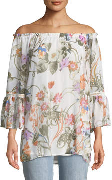 Chelsea & Theodore Off-The-Shoulder Floral-Print Blouse