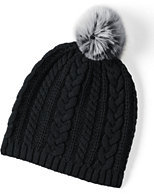 Lands' End Women's Fine Gauge Cable Hat-Dark Charcoal Heather