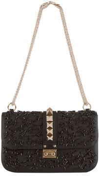 Valentino Medium Rockstud Daisy Embellished Lock Bag