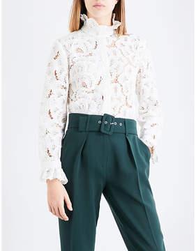 Claudie Pierlot Ruffled-collar lace shirt
