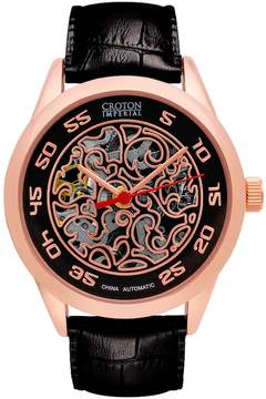 Croton Men's Imperial Leather Automatic Skeleton Watch