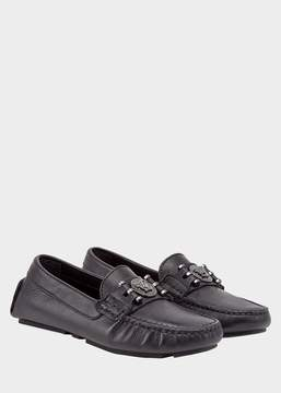 Versace Grained Leather Moccasins