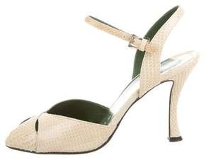 Walter Steiger Snakeskin Ankle Strap Sandals