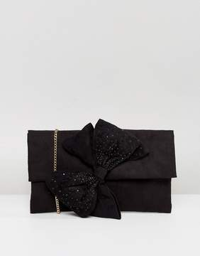 Lipsy Clutch Bag With Diamonte Bow