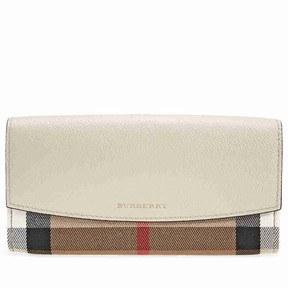 Burberry House Check and Leather Continental Wallet - Limestone - ONE COLOR - STYLE