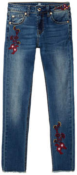 7 For All Mankind Ankle Embroidery Detail Skinny Jean (Big Girls)