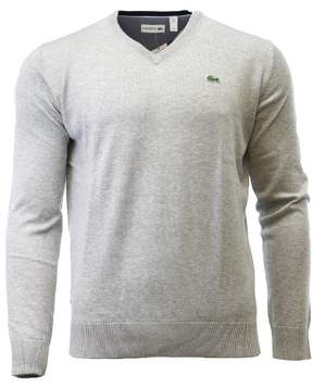 Lacoste V-Neck Jersey Sweater Pullover - Silver Chine - Mens - 7/2XL