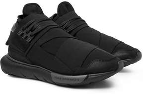 Y-3 Qasa Suede And Leather-Trimmed Mesh High-Top Sneakers