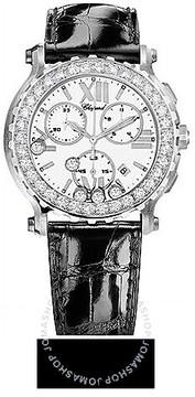 Chopard Happy Sport White Dial Chronograph Diamond Ladies Watch