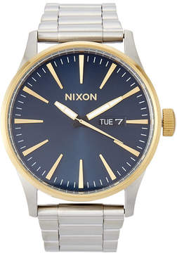 Nixon A356 Gold-Tone & Blue Sentry SS Watch