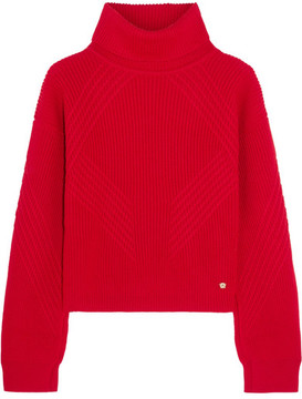 Versace - Split-sleeve Ribbed Wool Turtleneck Sweater - Red