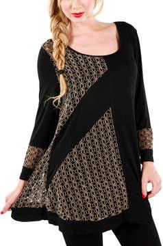 Lily Beige & Black Crochet Panel Tunic - Women