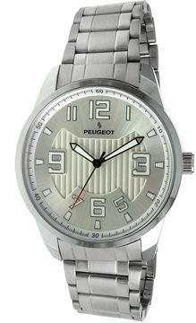 Peugeot Mens Carbon Fiber Cutout Dial Silver-Tone Watch