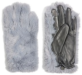 Topshop Women's Faux Fur & Leather Gloves
