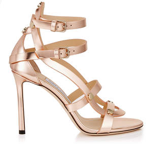 Jimmy Choo MOTOKO 100 Tea Rose Mirror Leather Sandals with Gold Studs