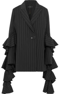 Ellery Perfect Pitch Ruffled Pinstriped Crepe Blazer - Black