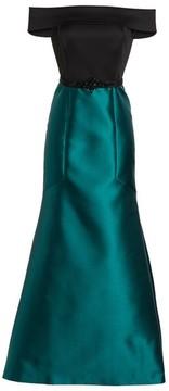 Eliza J Women's Mixed Media Off The Shoulder Trumpet Gown