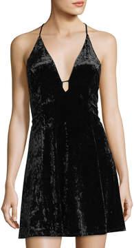 Astr Faye Velvet Fit & Flare Dress
