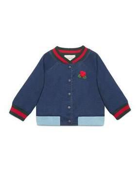 Gucci Web Bomber Jacket w/ Rose Applique, Size 12-36 Months