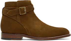 Grenson Tan Suede Corey Buckle Boots