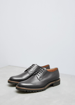 Dries Van Noten Black Smooth Plain Toe Derby