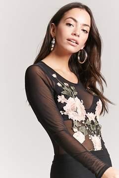 Forever 21 Sheer Floral Mesh Bodysuit