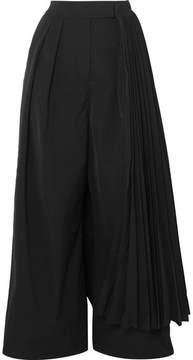 Awake Layered Pleated Crepe Wide-leg Pants - Black