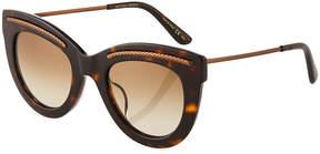 Bottega Veneta Cat-Eye Plastic/Metal Sunglasses