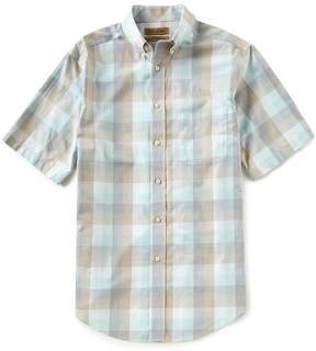 Roundtree & Yorke Gold Label Big and Tall Short-Sleeve Buffalo Plaid Non-Iron Sportshirt