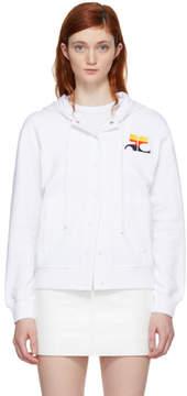Courreges White Stripe Logo Snap Hoodie
