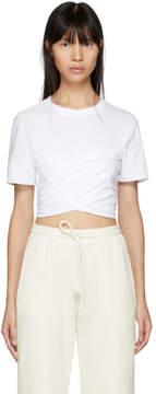 Alexander Wang White High Twist Draped Cropped T-Shirt