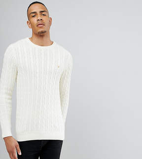 Farah TALL Lewes Twisted Marl Cable Sweater in Cream