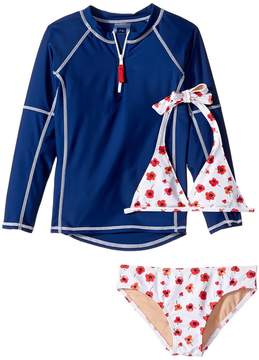 Toobydoo Poppy Flower Rashguard Set (Infant/Toddler/Little Kids/Big Kids)