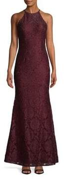 Betsy & Adam Floral Lace Floor-Length Gown