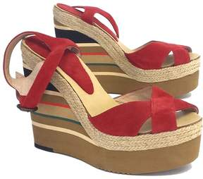 Andre Assous Pipoan Red Suede Striped Platform Wedges