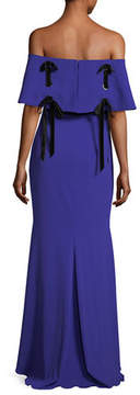 Badgley Mischka Off-the-Shoulder Crepe Evening Gown w/ Velvet Laces