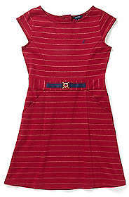 Nautica Girls' Striped Jersey Buckle Dress (8-16)