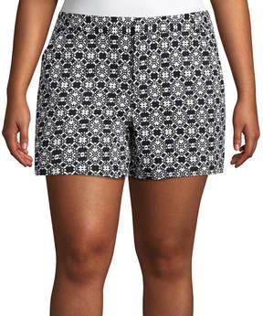 Boutique + + 5 Geometric Twill Shorts - Plus