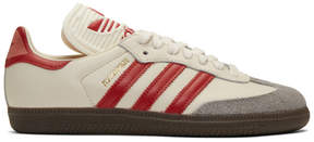 adidas Off-White and Red Samba OG Sneakers