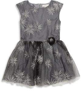Halabaloo Little Girl's Star Embroidered Tulle Dress
