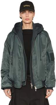 Juun.J Nylon Bomber Jacket W/ Jersey Hood