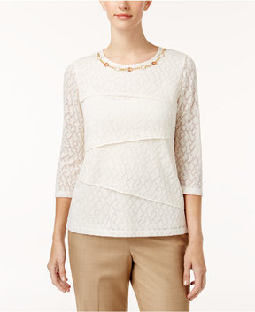Alfred Dunner Emerald Isle Embellished Tiered Top