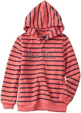 Nautica Girls' Striped Fleece Hoodie