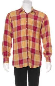 Luciano Barbera Plaid Linen Shirt
