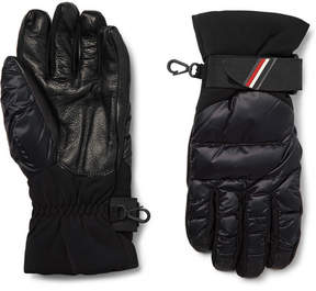Moncler Panelled Leather And Quilted-Shell Down Ski Gloves