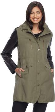 Apt. 9 Women's Hooded Faux-Leather Jacket