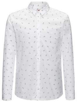 HUGO Boss Printed Cotton Sport Shirt, Extra Slim Fit Ero M Open White