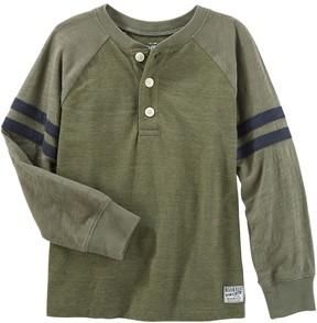 Osh Kosh Boys 4-12 Raglan Striped Sleeve Henley